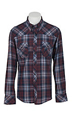 Rock & Roll Cowboy Men's Red, Navy & Purple Plaid L/S Western Snap Shirt