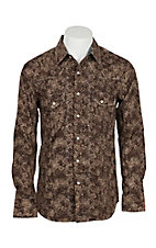 Rock & Roll Cowboy Men's Brown Scroll Print Crinkle Wash L/S Western Snap Shirt