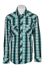 Rock & Roll Cowboy Men's Black & Blue Plaid Dobby L/S Western Snap Shirt