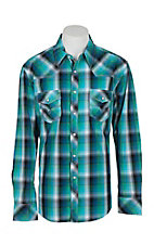 Rock & Roll Cowboy Men's Ombre Turquoise Plaid L/S Western Snap Shirt