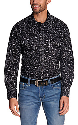 Rock & Roll Cowboy Men's Black with Grey Aztec Print Long Sleeve Western Shirt