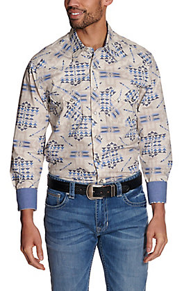 Rock & Roll Cowboy Men's Grey with Blue Aztec Print Long Sleeve Western Shirt