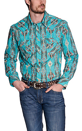 Rock & Roll Cowboy Men's Turquoise with Orange & Brown Aztec Print Long Sleeve Western Shirt