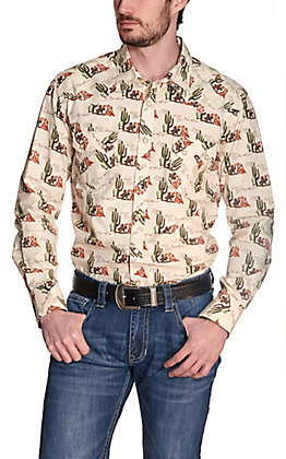 Rock & Roll Cowboy Men's Cream with Western Cactus Print Long Sleeve Western Shirt