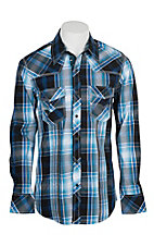 Rock & Roll Cowboy Men's Navy and White Plaid L/S Western Snap Shirt