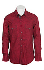 Rock & Roll Cowboy Men's Red Paisley L/S Western Snap Shirt