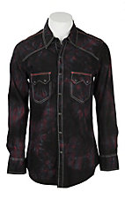 Rock & Roll Cowboy Men's Black and Red Spray Wash L/S Western Snap Shirt