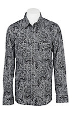 Rock & Roll Cowboy Men's Black and Grey Paisley L/S Western Snap Shirt