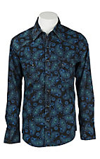 Rock & Roll Cowboy Men's Blue and Mint Paisley L/S Western Snap Shirt