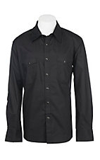 Rock & Roll Cowboy Solid Black Stretch L/S Western Snap Shirt