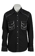 Rock & Roll Cowboy Men's Black with White Embroidery L/S Western Shirt