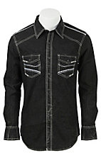 Rock & Roll Cowboy Men's Solid Black L/S Western Snap Shirt