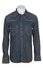 Rock & Roll Cowboy Men's Blue Distressed Print L/S Western Snap Shirt