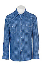 Rock & Roll Cowgirl Men's Black & Blue Diamond Print L/S Western Snap Shirt