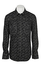 Rock & Roll Cowboy Men's Black w/ Grey Paisley Print L/S Western Shirt