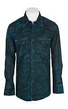Rock & Roll Cowboy Men's Turquoise and Black Spray Wash Paisley L/S Western Snap Shirt