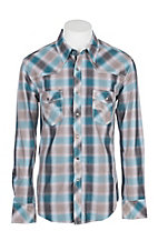 Rock & Roll Cowboy Men's Turquoise and Grey Plaid L/S Western Snap Shirt