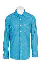 Rock & Roll Cowboy Men's Blue Medallion Print L/S Western Snap Shirt
