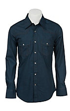 Rock & Roll Cowboy Men's Blue Circle Print L/S Shirt B2S6261