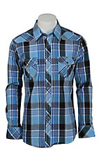Rock & Roll Cowboy Men's Blue Plaid L/S Shirt B2S6268