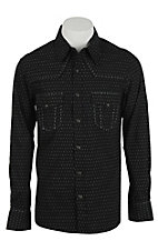 Rock & Roll Cowboy Men's Black with Grey Pattern L/S Western Shirt