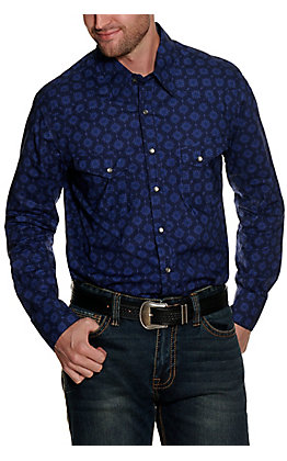 Rock & Roll Cowboy Men's Navy with Blue Medallion Print Long Sleeve Western Shirt