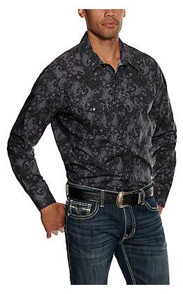 Rock & Roll Cowboy Men's Black Paisley Stretch Long Sleeve Western Shirt