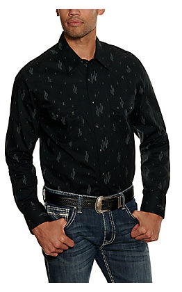 Rock & Roll Cowboy Men's Black Cactus Print Long Sleeve Western Shirt
