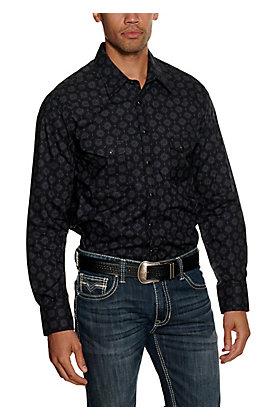 Rock & Roll Cowboy Men's Black Medallion Print Long Sleeve Western Shirt
