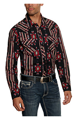Rock & Roll Cowboy Men's Black and Red Aztec Print Long Sleeve Western Shirt