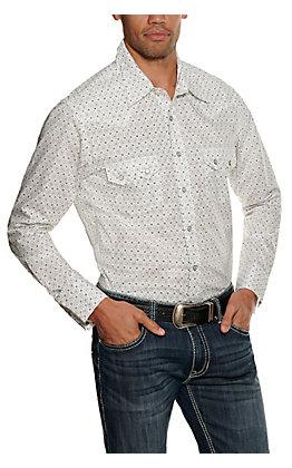 Rock & Roll Cowboy Men's White Geo Print Long Sleeve Western Shirt