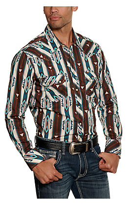 Rock & Roll Cowboy Men's Brown and White Aztec Print Long Sleeve Western Shirt