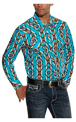 Rock & Roll Cowboy Men's Turquoise Aztec Print Long Sleeve Western Shirt