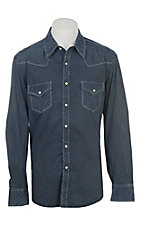 Rock & Roll Cowboy Men's Indigo Washed Geo Print Long Sleeve Western Shirt