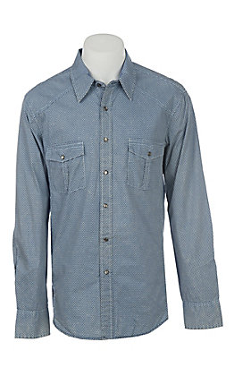 Rock & Roll Cowboy Men's Blue Washed Geo Print Long Sleeve Western Shirt