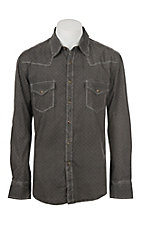 Rock & Roll Cowboy Men's Washed Brown Geo Print Long Sleeve Western Shirt
