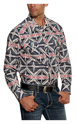 Rock & Roll Cowboy Men's Charcoal Aztec Print Long Sleeved Western Shirt