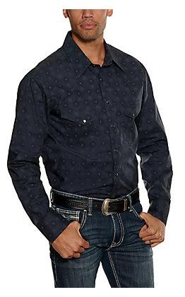 Rock & Roll Cowboy Men's Charcoal Medallion Print Long Sleeve Western Shirt