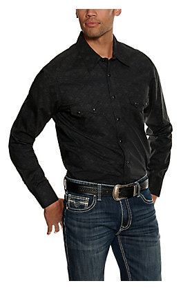 Rock & Roll Cowboy Men's Black Paisley Long Sleeve Western Shirt