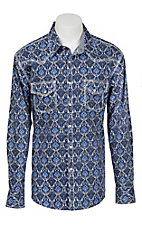 Rock & Roll Cowboy Men's Navy and White Floral Print L/S Western Shirt