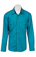 Rock & Roll Cowboy Men's Turquoise and Blue Circle Print L/S Western Shirt