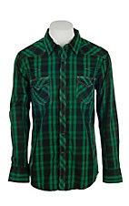 Rock & Roll Cowboy Men's Green Plaid L/S Western Shirt