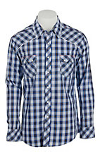 Rock & Roll Cowboy Men's Blue Plaid L/S Western Shirt