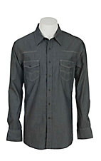 Rock & Roll Cowboy Men's Grey Chambray Long Sleeve Western Snap Shirt