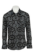 Rock & Roll Cowboy Men's Black and White Aztec Print L/S Western Shirt