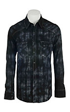 Rock & Roll Cowboy Men's Black Burnout Plaid L/S Western Shirt