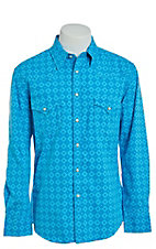 Rock & Roll Cowboy Men's Bright Blue Geo Print Long Sleeve Western Shirt