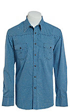 Rock & Roll Cowboy Men's Blue Geo Print Long Sleeve Western Shirt