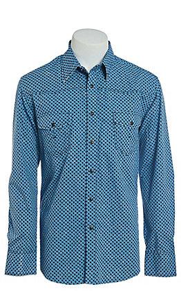 Rock & Roll Cowboy Men's Blue Geo Print Long Sleeve Western Shirt