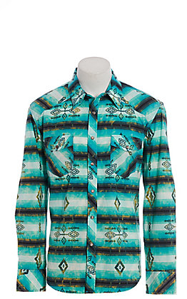 Rock and Roll Cowboy Men's Turquoise Aztec Print Long Sleeve Western Shirt